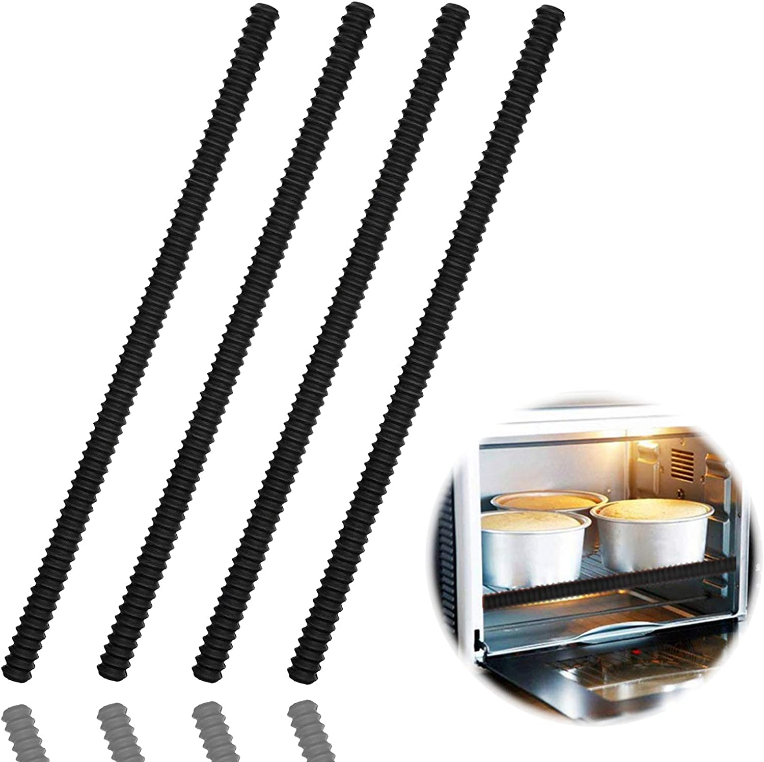 Oven Rack Shields - 4 Pack Heat Resistant Silicone Oven Rack Cover 14 inches Long Oven Rack Edge Protector, Protect Against Burns and Scars (Black)