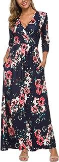 Womens Wrap V Neck 3/4 Sleeve Maxi Dress Pocket Empire Floral Maxi Dress