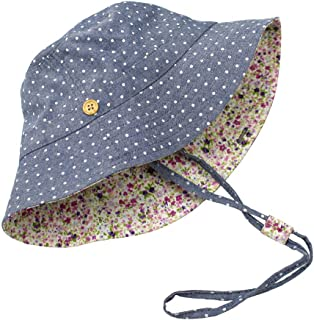 Kids UPF50+ Safari Sun Hat Polka Dot Denim Bucket Hat Summer Breathable Play Hat