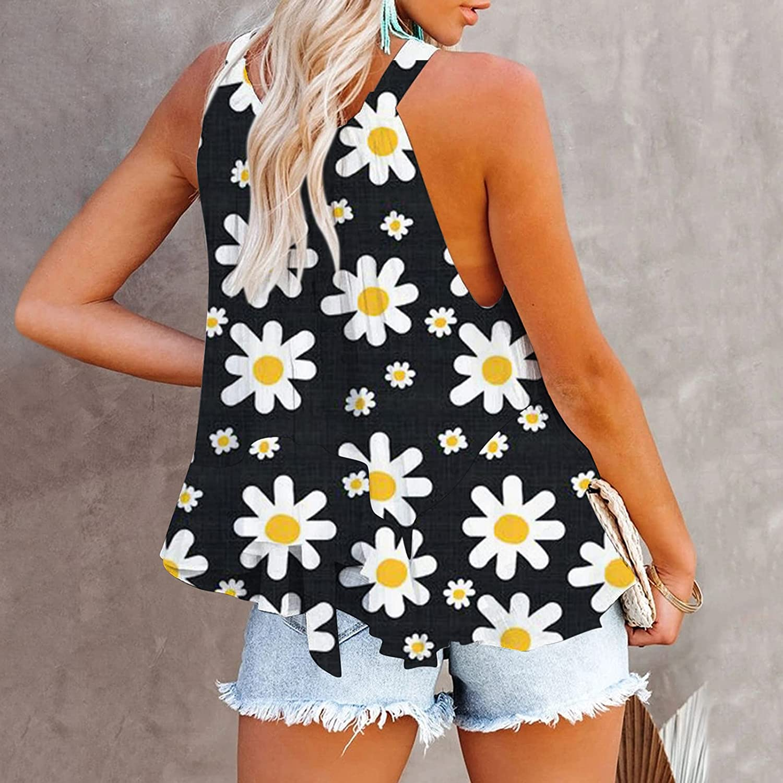 Women's Sleeveless Summertime Fashion O-Neck Blouse Vest Blouse Summer Ladies Casual Vest
