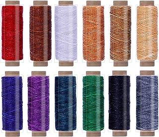 Leder Faden Set, 12 Farben Wachsfaden, Leder Nähen Faden, Bunte Nähgarn Leder Garn für Leder Handwerk Nähen Buchbinden DIY