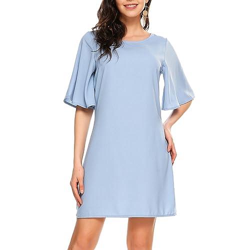 9cfa239ab2 Zeagoo Women Chiffon Blouse Summer Bell Sleeve Dress Shirt Top