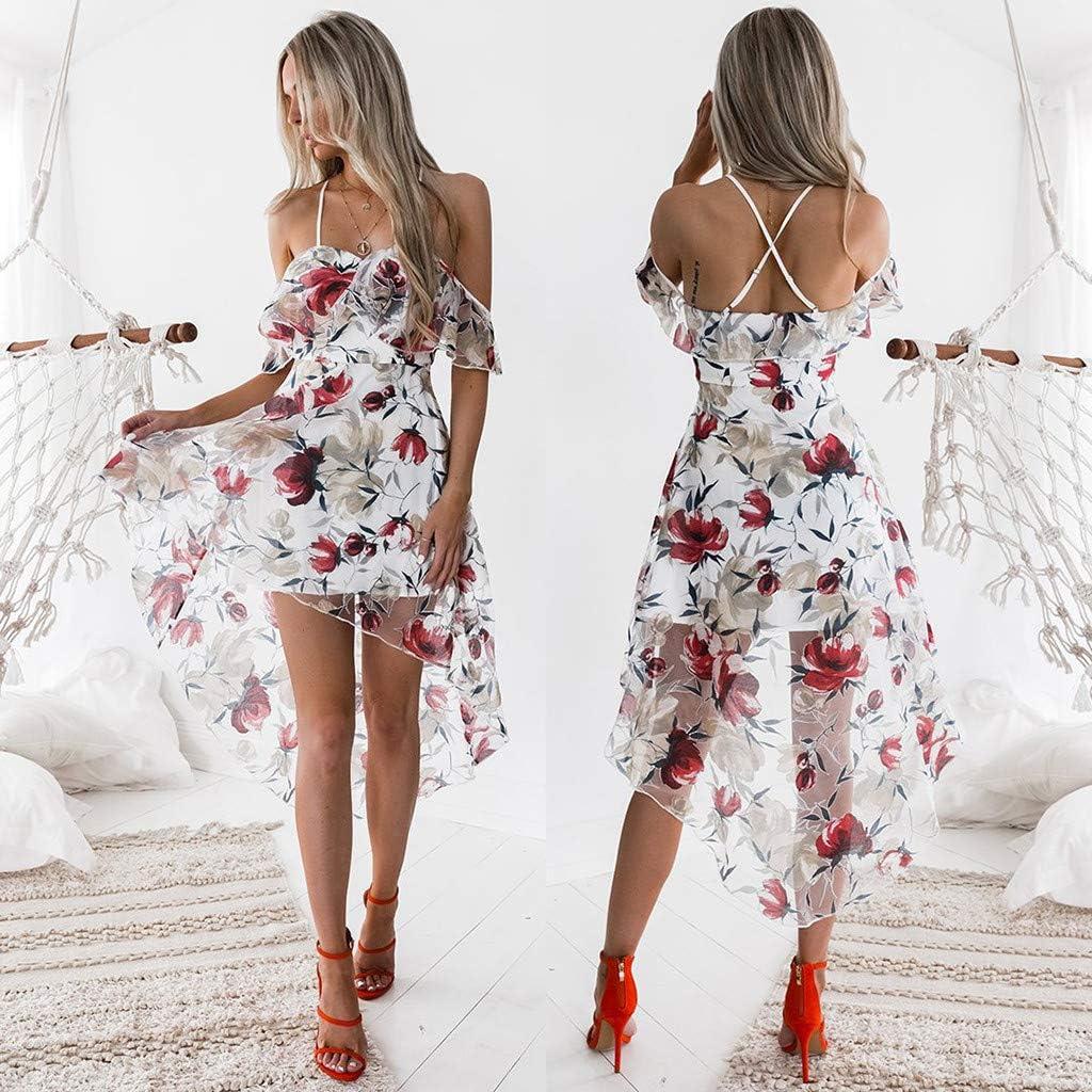 DressLksnf Falda Casual Moda de Mujer Vestido Fuera del Hombro Elegante Original Blusa de Estampado Floral con Tirante Prenda Suelta Estilo de ...