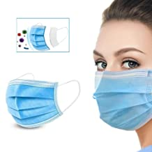 Face Mask, Disposable Face Masks 50pcs (50×1 Pack), Breathable Mouth Masks 3-Ply with Elastic Earloops, Breathable Non-Wov...