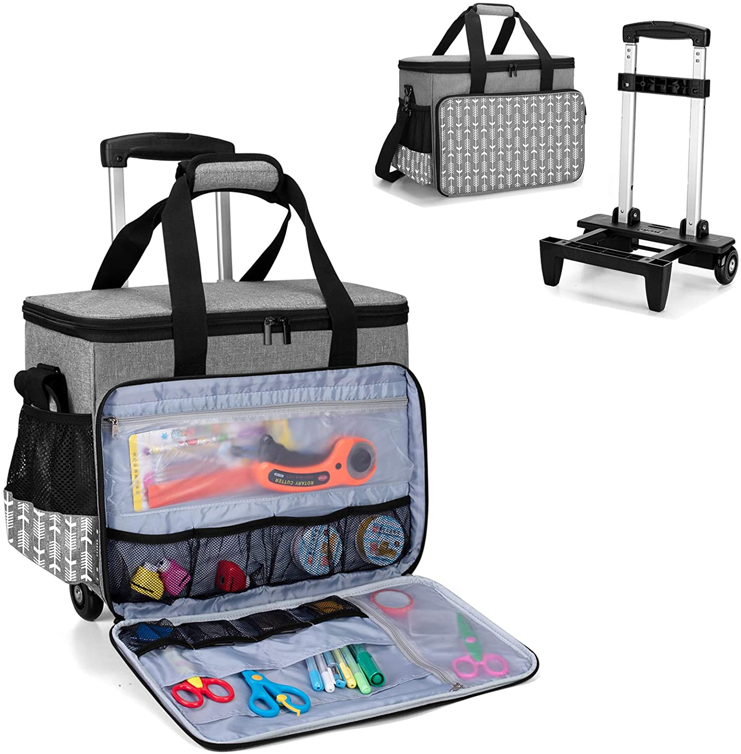 Yarwo Rolling Super beauty product restock quality top Scrapbook Tote Bag Wheels security with Detachable Trolley