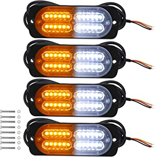 WoneNice Ultra-Slim Strobe Light, 12-24V 24-LED Super Bright Mini Emergency Warning Safety Flashing Light Bar with 16 Different Flashing Mode for SUV, Off Road Vehicle, ATVs, Truck