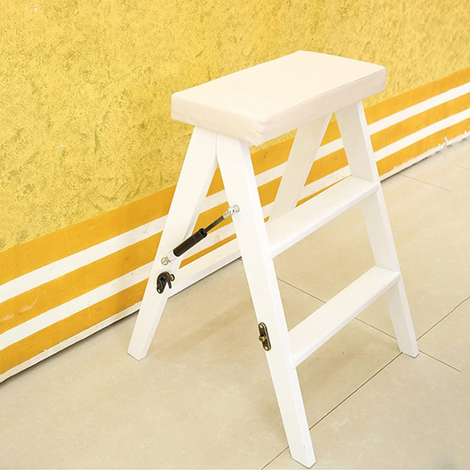 Wooden Folding Ladder Stool Multifunctional Household Step Stool Ascend Stool Bar Stool Folding Chair (color   A)