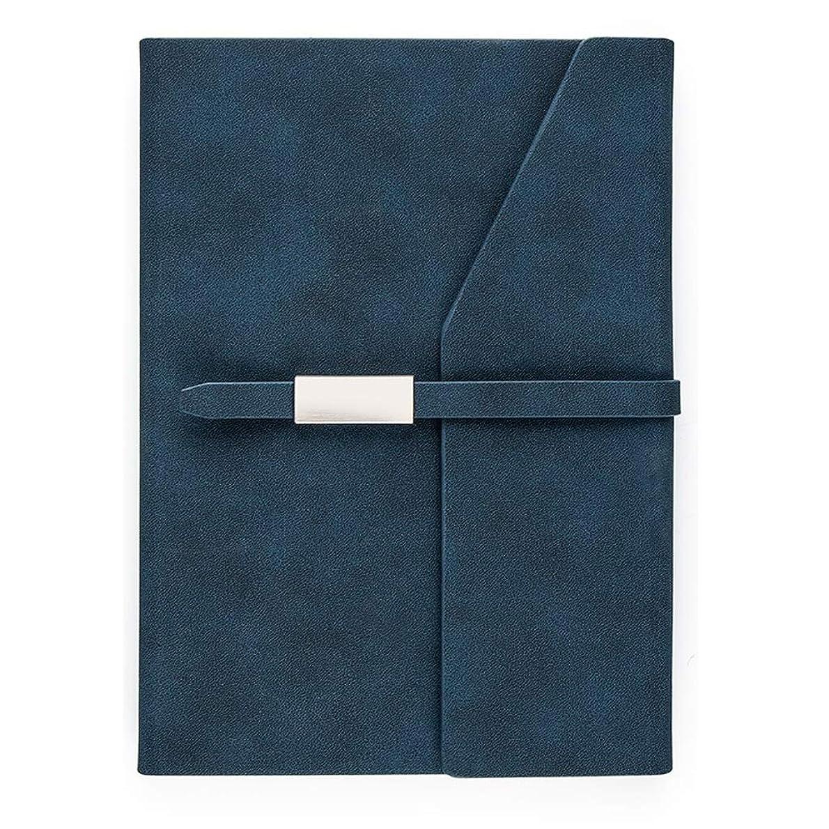 あえぎいつでもカビ厚手のノート A5バックルビジネスノートブックメモ帳作業オフィス記録帳ポータブル260ページを厚く ポータブル (Color : Blue, サイズ : 15.5*21cm)