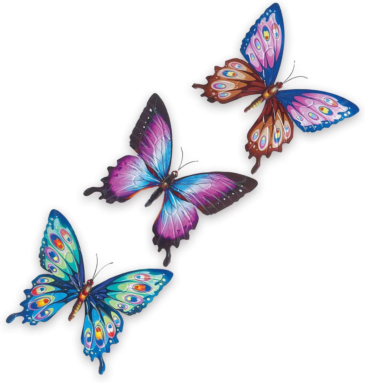 Butterfly Hanging Metal Wall Art - For Indoor, Outdoor Decoration - A Set Of 3 Stunning Natural Inspired 3D Wall Sculpture Butterfly- Perfect for Decorating Home, Bedroom, Living Room, Office, Garden