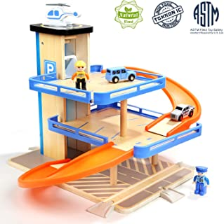 TOP BRIGHT Car Parking Garage Toy for Boys and Girls, Wooden Car Ramp Toy with Three Parking Levels and Elevator