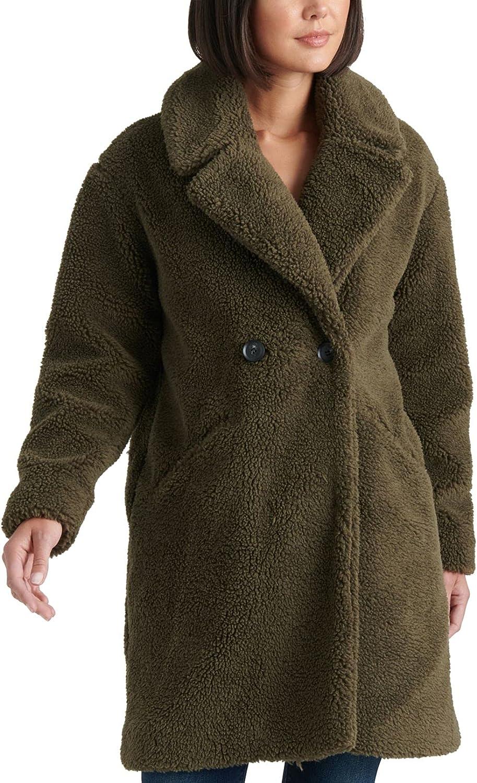 Lucky Brand Womens Teddy Winter Faux Fur Double Face Coat