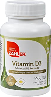 Zahler Vitamin D3 1000IU, an All-Natural Supplement Supporting Bone Muscle Teeth and Immune System, Advanced Formula Targe...