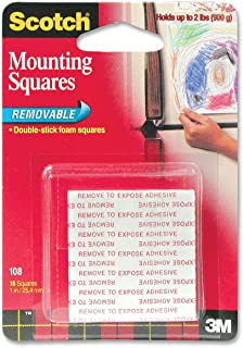 Scotch Removable Mounting Squares , 1 In x 1 In, 16 Squares (Pack of 8)