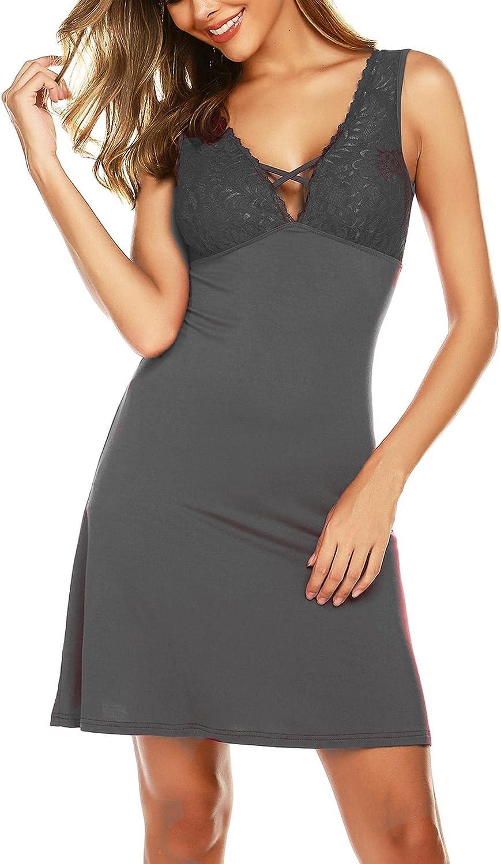 Ekouaer Sexy Nightgown for Women Chemise Nightie Full Slip Lace Lounge Dress Nightdress