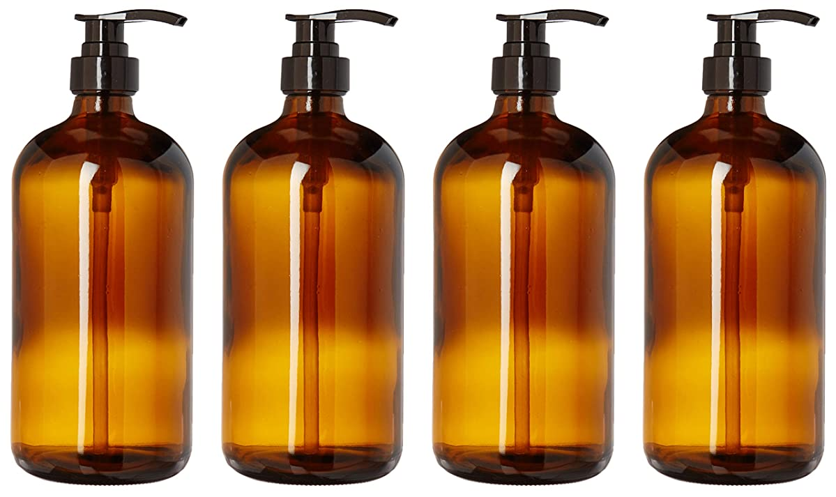 kitchentoolz 32-Ounce Large Amber Glass Boston Round Bottles w/Black Pumps. Great for Lotions, Soaps,Oils, Sauces - Food Safe and Medical Grade (4 Pack of Bottles)