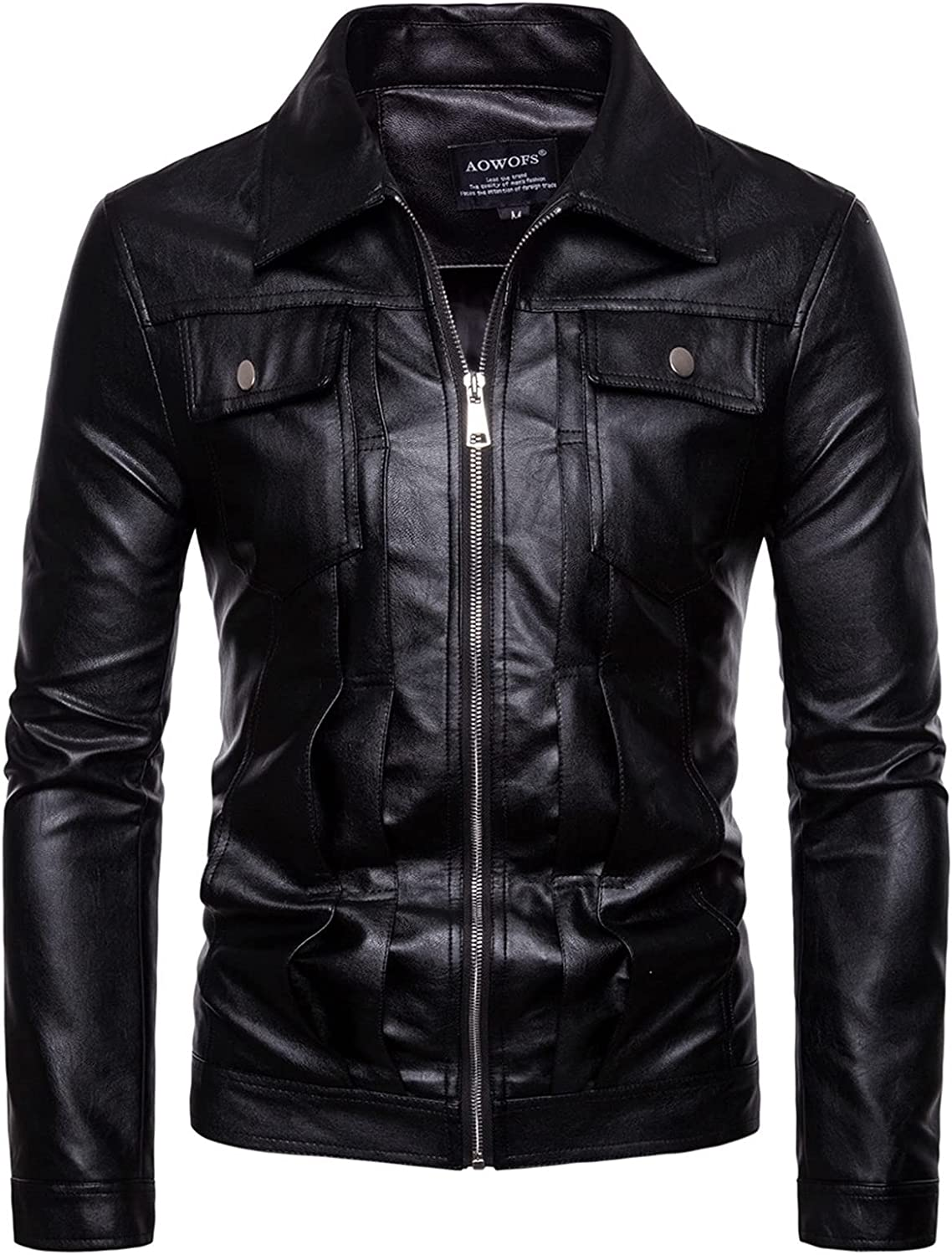 YUIJ Men's Black Leather Jackets,Pocket Decoration Washing Machine PU Leather Jacket,for Outdoor Cycling by Teenagers