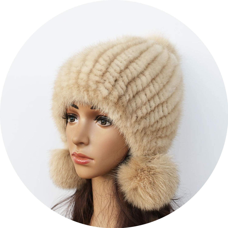 Fashion Women Mink hat Winter Warm Mink Fur Knit Hats Women Fox Fur Ball Cap