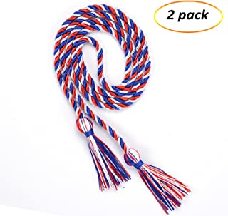eborder 2 Piece Honor Cord Graduation Tassel for Leadership Students Graduating from School College,68 inch (Blue White red)