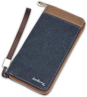 FANDARE New Lang Wallet Two-fold Zipper Brieftasche Herren Reisen Party Doka Tasche Große Kapazität Purse Verschleißfest Leinwand Blau