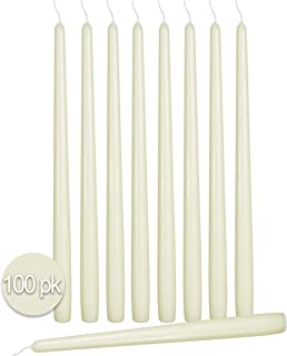 Ner Mitzvah 100 Pack Tall Taper Candles - 10 Inch Woolwhite Dripless, Unscented Dinner Candle - Paraffin Wax with Cotton Wicks - 8 Hour Burn Time