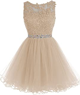 Women's Short Lace Homecoming Dresses Beaded Cocktail Prom Party Gowns