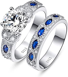 BONLAVIE Women's 3.5ct Round Cubic Zirconia Marquise Created Blue Sapphire 925 Sterling Silver Engagement Ring Set