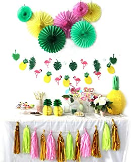 SUNBEAUTY Summer Party Decoration Kit Paper Fans Tropical Party Flamingos and Pineapples Banners Tassel Garlands Hawaiian Luau Beach Supplies 31 Piece