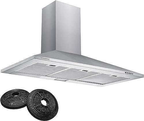 CIARRA CBCS9201 Hotte Aspirante 90cm - 370 m³/h - Filtre à Charbon Inclus - Recyclage ou Evacuation - LED Lampe - Che...