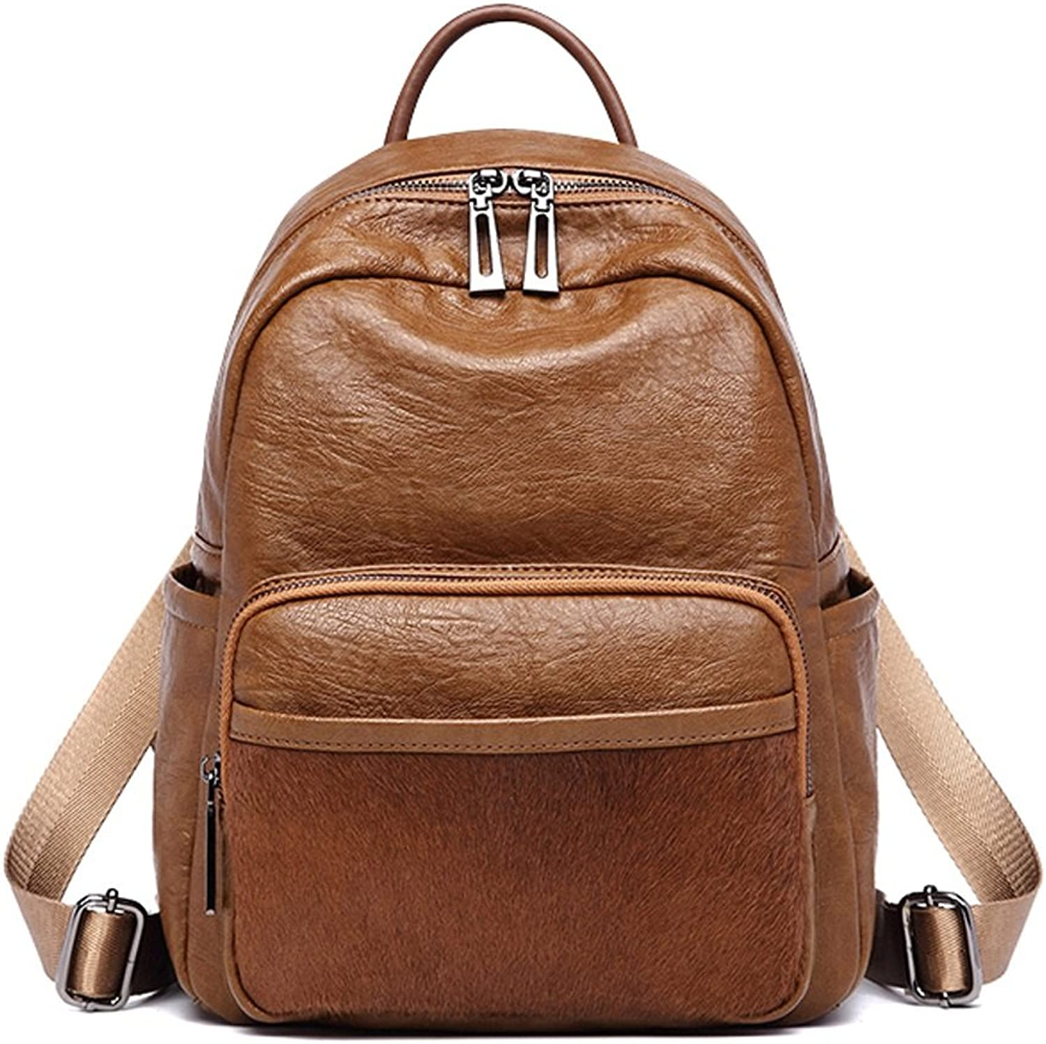 CQ New Port Style Pack Fashion Bag Casual Bag Fashion Leather Bag Antique Backpack (color   Brown, Size   25  13  33cm)