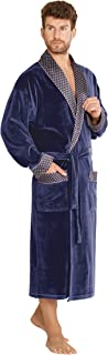 Mens Classic Bathrobe Lounge Wear Cotton Dressing Gown Long Length Warm Robe