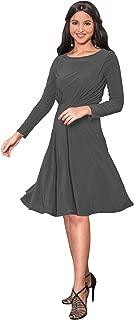 Long Sleeve Semi Formal Flowy Party Work Knee Length Midi Dresses