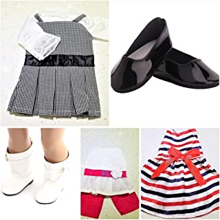 The Crafty Owl Fashion Everyday Dresses and Pant Sets and Accessories for 18 inch Dolls. Fits American Doll (Stripe Dress/Black & White Dress/White Top with Pants/Bag/Shoes)
