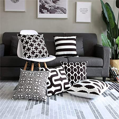 Couch 100/% Genuine High Quality Lambskin Leather Decorative Multi BlackWhite Throw Pillow Covers for Bedroom Sofa /& Bed Living Room