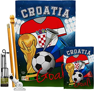 Ornament Collection FK192092-BO World Cup Croatia Soccer Interests Sports Decorative Vertical Flags Kit, House & Garden Set w/Flagpole, Multi-Color