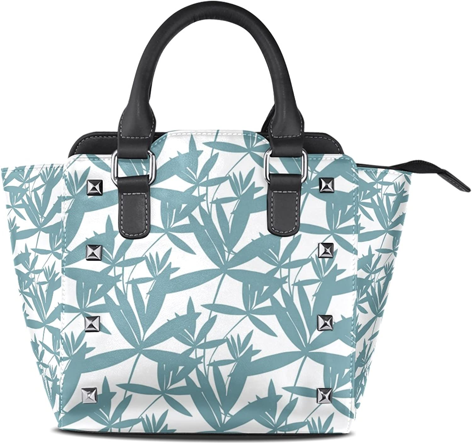 Sunlome Floral Foliage Print Women's Leather Tote Shoulder Bags Handbags