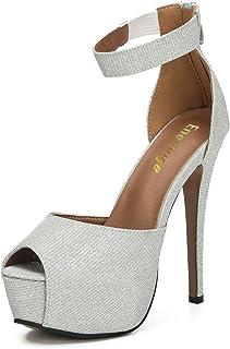 Women's Sexy Ankle Straps Peep Toe Buckle Platform Stiletto Wedding Party High Heels Sandals