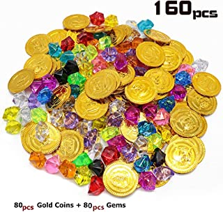 160pcs Plastic Pirate Gold Coins Colored Gems Pirate Treasure Hunt Playset Toys for Kids Party Props Decoration Pirate Treasure Coins Jewels for Party Favor,Event,Wedding, Vase Fillers, Arts & Crafts
