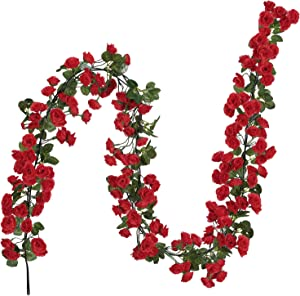 Houele 2 Pack (16FT) Fake Rose Vine Flowers Plants Artificial Rose Vine Flowers for Wedding Home Party Garden Craft Art Decor(Positive red)