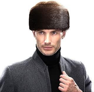 Men's Mink Full Fur Russian Cossack Hat Roller Cap