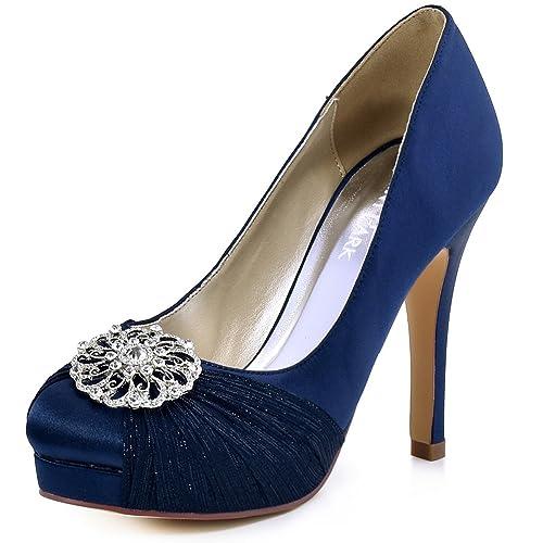 c24962c46b9b ElegantPark HC1609P Women`s Closed Toe Pleated Chiffon Pumps Rhinestones  Buckle Satin Wedding Bridal Shoes