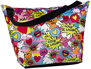"iscream 'Love 2 Laugh' Weekender 23.5"" x 16"" x 9"" Travel Tote Bag with Adjustable Strap"