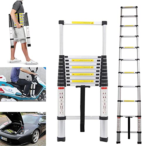 new arrival Heavy Duty Aluminum Telescoping Ladder sale Professional Building Supplies Extension Steps Non-Slip EN131 Certificated 330lb Max Load online Capacity sale