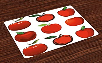 Lunarable Apple Place Mats Set of 4, Cartoon Style Different Apples Fresh and Ripe Seasonal Food Clean Eating Vegan, Washable Fabric Placemats for Dining Table, Standard Size, White Green