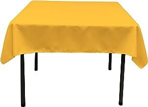 LA Linen Polyester Poplin Square Tablecloth, 52 by 52-Inch, Dark Yellow