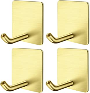 Hgery Self Adhesive Hooks, Heavy Duty Rugged 304 Stainless Steel Golden Wall Hangers, Strong Sticky Hanging Hooks for Doors, Kitchen, Bathrooms, Office, 4 Packs