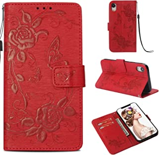 iPhone XR Case, ZERMU Premium PU Leather Flower Butterfly Pattern Flip Wallet Case with Kickstand Card Holder ID Slot and Hand Strap Shockproof Protective Cover for iPhone XR 6.1 inch (2018 Model)