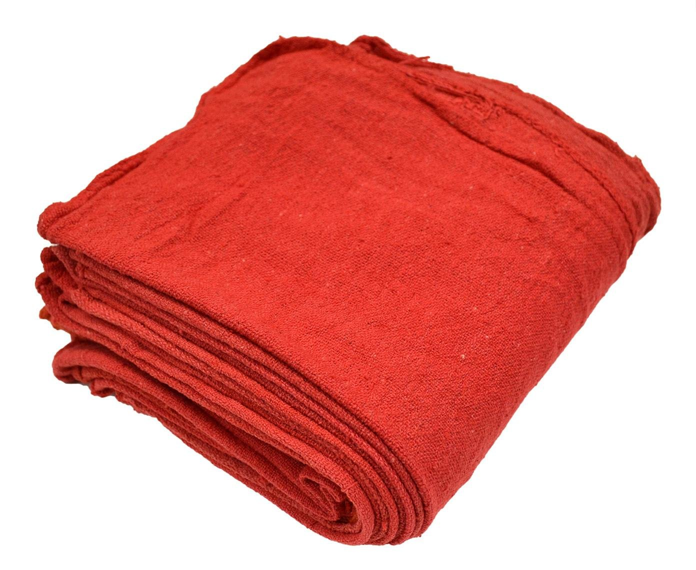 Reusable Commercial Grade 100/% Cotton Washable Cleaning Cloths Red Shop Towel Perfect Shop Rags for Mechanic Work Size 12 x 14 Inches
