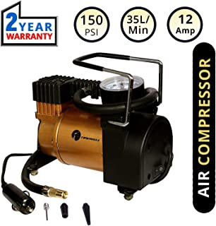 TIREWELL TW-6132 Portable Tire Air Compressor Pump Universal Tyre Inflator with Analog Pressure Gauge and 3 Nozzle (150 PSI)
