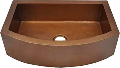 """Soluna Copper Farmhouse Sink - 33"""" Hammered Copper Kitchen Sink Cafe Natural Finish - Pure Rounded Copper Style Sink - Premium Copper Kitchen Sink - Antique Hammered Copper Sink - Luxury Copper Sink"""