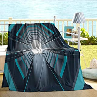 Mademai Outer Space Decor Throw Blanket,Tunnel with Neon Lights Passage Mercury Lunar Orbit Inspired Stardust Art,Thermal Blanket Blue Black 70